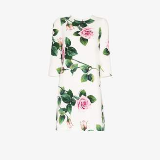Dolce & Gabbana Womens White Rose Print Shift Dress