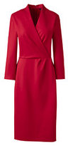 Lands' End Women's 3/4 Sleeve Knit Surplice Dress-Deep Midnight Navy