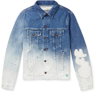 Off-White Slim-Fit Paint-Splattered Degrade Denim Jacket
