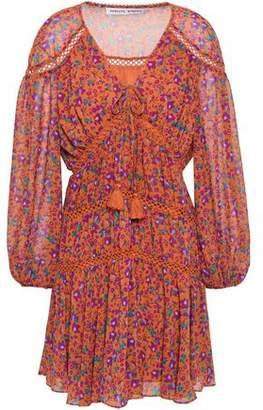 Rebecca Minkoff Caden Lattice-trimmed Floral-print Crepe De Chine Mini Dress