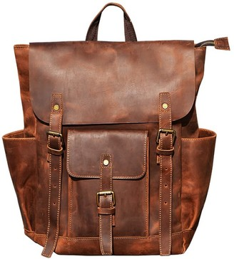 Touri Vintage Look Leather Backpack In Worn Brown