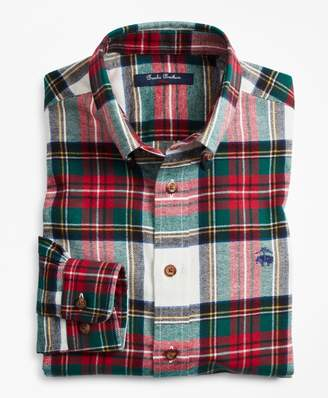 Brooks Brothers Boys Stewart Tartan Flannel Sport Shirt