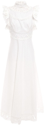 Zimmermann Guipure Lace-trimmed Swiss-dot Linen And Cotton-blend Midi Dress