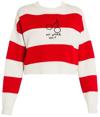 Miu Miu Embroidered Cherry Striped Knit Crewneck