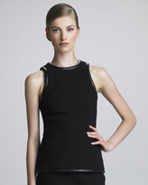 Christopher Kane Leather-Trim Crepe Tank