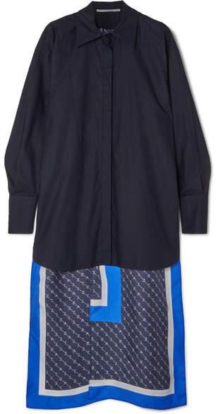 Stella McCartney Rayna Asymmetric Printed Silk-satin Shirt - Navy