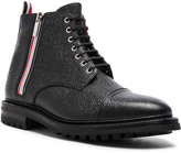 Thom Browne Side Zip Cap Toe Leather Boots