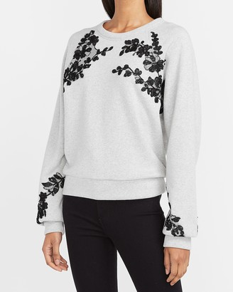 Express Floral Embroidered Crew Neck Sweatshirt