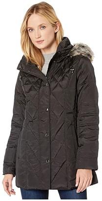 London Fog Down with Faux Fur Trim Hood (Black) Women's Coat