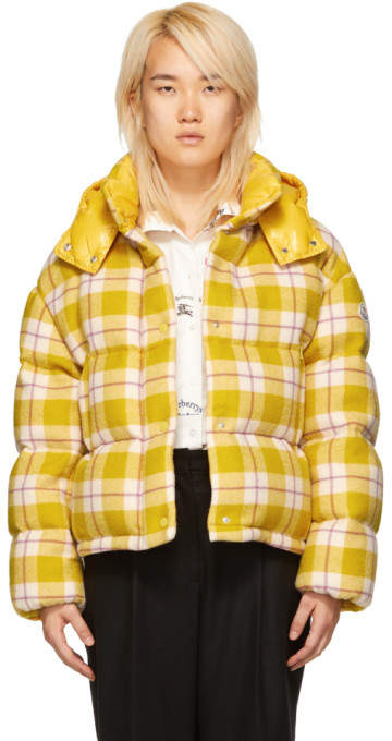 Moncler Yellow Check Down Caille Jacket