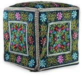 Multi Color Embroidered Cotton Ottoman Cover, 'Bollywood Blooms'