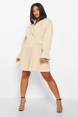 boohoo Plus Pleated Hem Blazer Dress