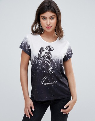 Religion praying skeleton dip dye oversized t-shirt-Gray