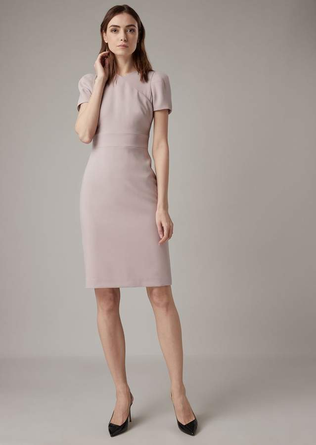 Giorgio Armani Plain Wool Crepe Dress With Overlap-Effect Neckline
