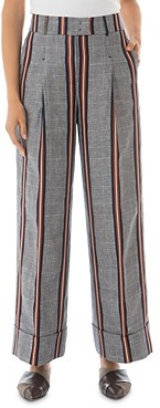 Peserico Striped Pleated Wide-Leg Pants