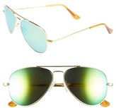 Randolph Engineering Men's 'Concorde - Flash' 57Mm Aviator Sunglasses - 23K Gold/ Green Flash Pc