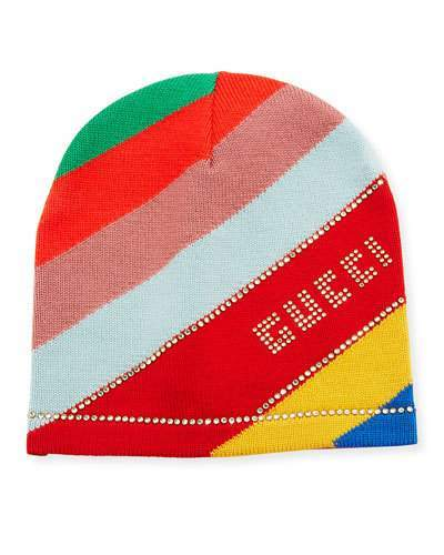 Gucci Multi-Stripe Wool Beanie Hat w/ Crystal Logo
