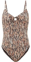 Belize - Yara Abstract-print Front-tie Swimsuit - Womens - Brown Print
