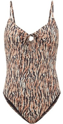 Belize - Yara Tie-front Abstract-print Swimsuit - Brown Print
