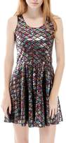 Come On Comeon Mermaid Dress Sexy Sleeveless Fish Scales Dress Bodycon Rockabilly Dress Colorful Sleeveless (-Colored,US 0-2=S)