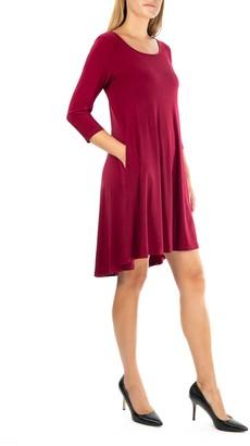 Nina Leonard 3/4 Sleeve Stretch Knit Swing Dress