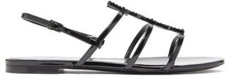 Saint Laurent Cassandra Crystal-embellished Slingback Sandals - Black