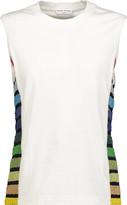 Sonia Rykiel Paneled striped cotton-blend bouclé and cotton-jersey top