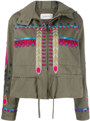 Valentino Embroidered Zip-Up Jacket