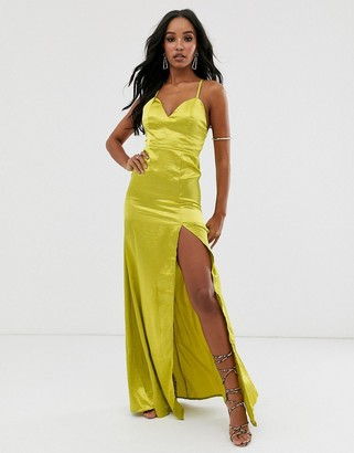 Club L London satin plunge front maxi dress with high thigh split in lime