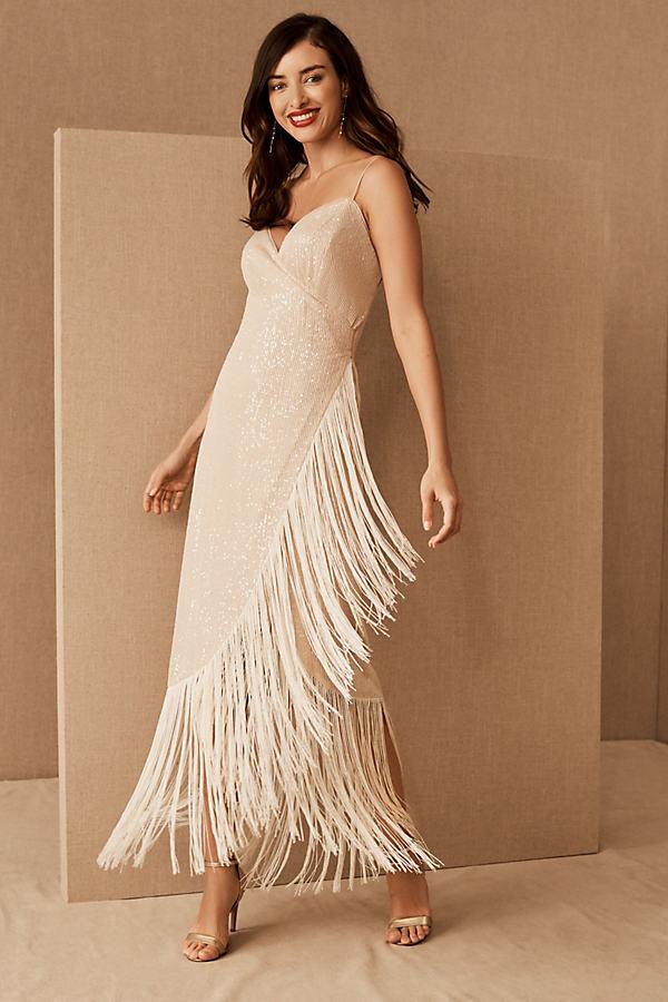 Azulu Tierra Fringe Dress By in Beige Size XXS
