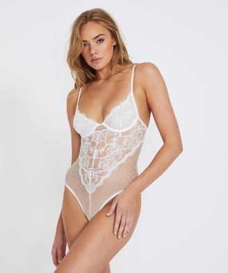 Love Notes Violette Lace Panelled Bodysuit White