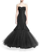 Zac Posen Pleated Strapless Tulle Mermaid Gown, Black