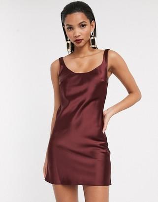 Asos DESIGN scoop neck mini satin slip dress in burgundy