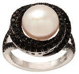 Honora As Is Cultured Pearl 10.0mm Button & 1 cttw. Black Spinel Ring