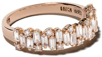 Suzanne Kalan 18kt Gold Diamond Staggered Half Band Ring