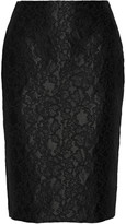 ADAM by Adam Lippes Lace-appliquéd satin pencil skirt