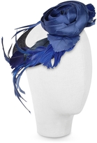 Nana' Alba - Night Blue Flower Feather Hat Disc