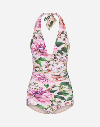 Dolce & Gabbana Full Swimsuit With Plunging Neckline And Floral Rose Print
