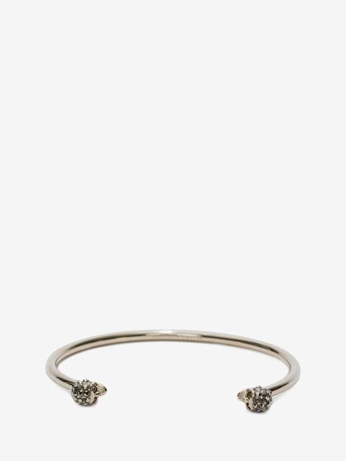 Alexander McQueen Thin Jeweled Twin skull bracelet