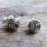 Sterling Silver Stud Earrings Round Shape from Thailand, 'Bird Nests'