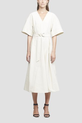 3.1 Phillip Lim Short Sleeve Textured Faille Belted Dress