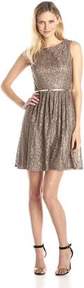 Ellen Tracy Women's Sleeveless Lace Fit and Flare Dress