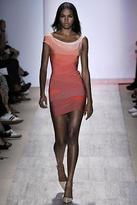 HERVE LEGER Off-the-shoulder cap sleeve and one strap. Curved and diagonal bands at bodice. Single strap splits at back. Left side zipper