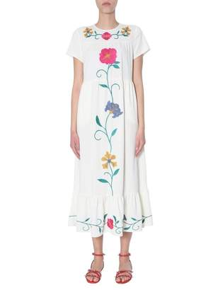 RED Valentino Floral Embroidered Midi Dress