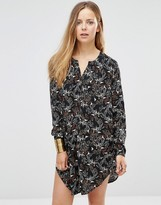 Only Printed Longline Shirt With Side Splits