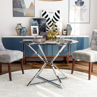Furniture of America Grazi Contemporary Glass Top Round Dining Table