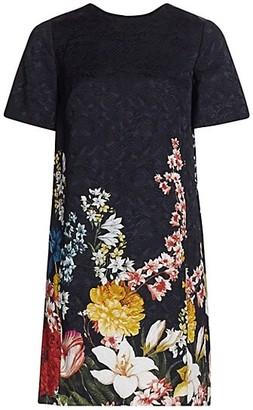 Oscar de la Renta Short-Sleeve Floral Shift Dress