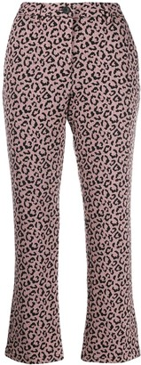 White Sand Cropped Leopard Print Trousers