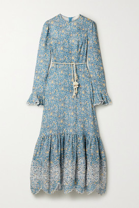 Zimmermann Carnaby Belted Broderie Anglaise-trimmed Floral-print Linen Midi Dress - Light blue