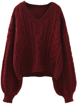 Goodnight Macaroon 'Florence' V-neck Cable Knit Cropped Sweater (2 Colors)